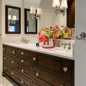 Dark Brown Double Washstand With Glass Knobs