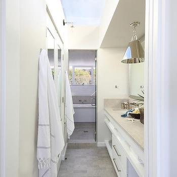 Galley Style Bathroom With Glass Ceiling
