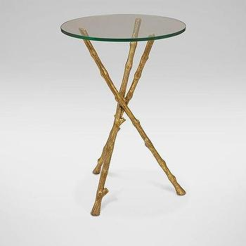 Gold Tree Branch Bird Accent Table