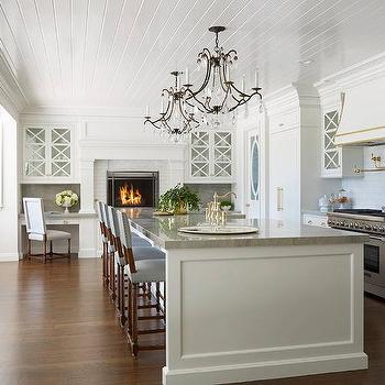 White And Gold Kitchen With French Door Paneled