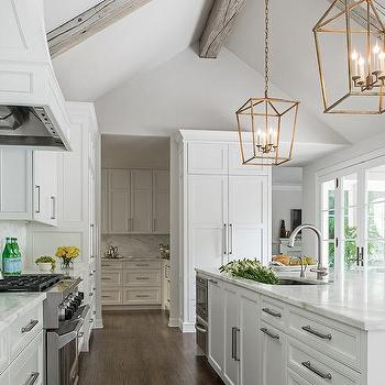 Gray Vaulted Kitchen Ceiling with Gray Wood Beams ...