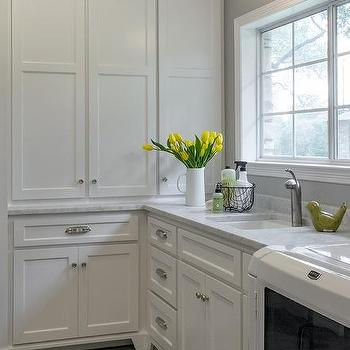 striped schoolhouse pendant over laundry sink - Utility Sink Backsplash