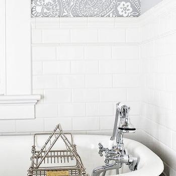 bathroom tiles wallpaper. White And Gray Bathroom With Schumacher Paisley Wallpaper Tiles