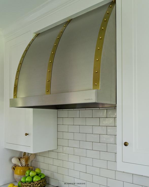 Steel Kitchen Hood With Brass Rivet Trim Transitional