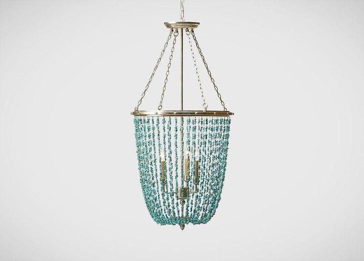 Turquoise beaded rivulets chandelier turquoise stone beaded chandelier aloadofball Gallery