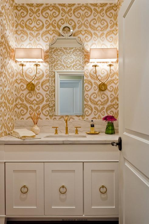 White And Gold Powder Room With Phillip Jeffries Indo Ikat Wallpaper