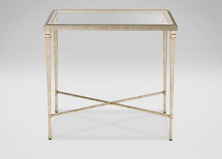Beveled Glass Silver X Base End Table