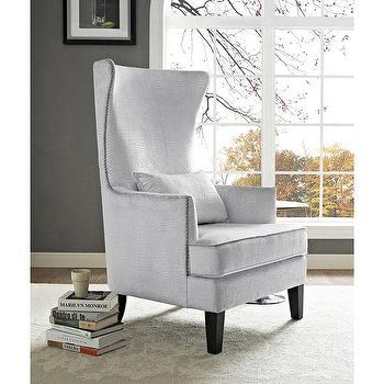 Silver Croc Motif Swoop Arm Chair