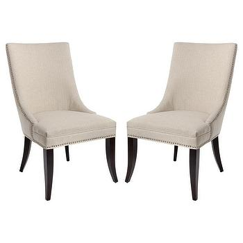 Ivory Upholstered Swoop Arm Side Chairs