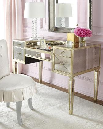 Skirted Vanity Chair and Mirrored Vanity