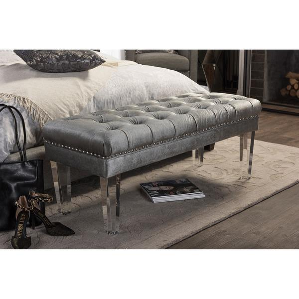 Superb Grey Tufted Rectangular Acrylic Legs Bench Creativecarmelina Interior Chair Design Creativecarmelinacom