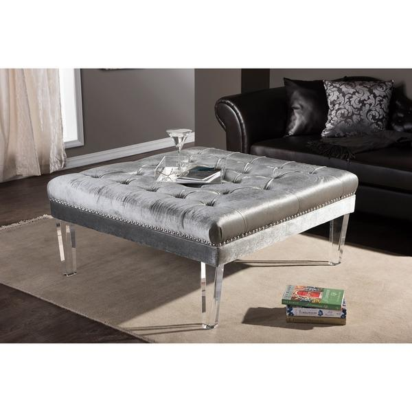 Sensational Grey Tufted Rectangular Acrylic Legs Ottoman Creativecarmelina Interior Chair Design Creativecarmelinacom