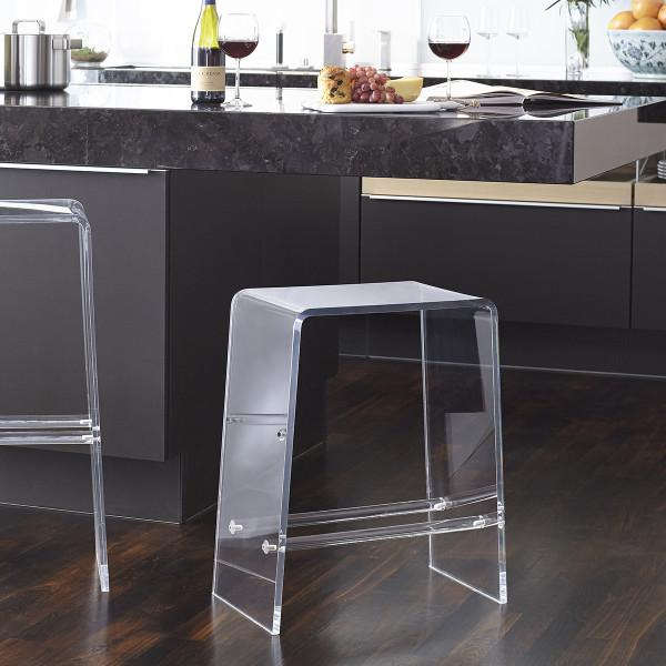 Magnificent Acrylic Waterfall Footrest Counter Stool Pabps2019 Chair Design Images Pabps2019Com