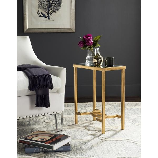Antique Gold Leaf Frame Glass End Table