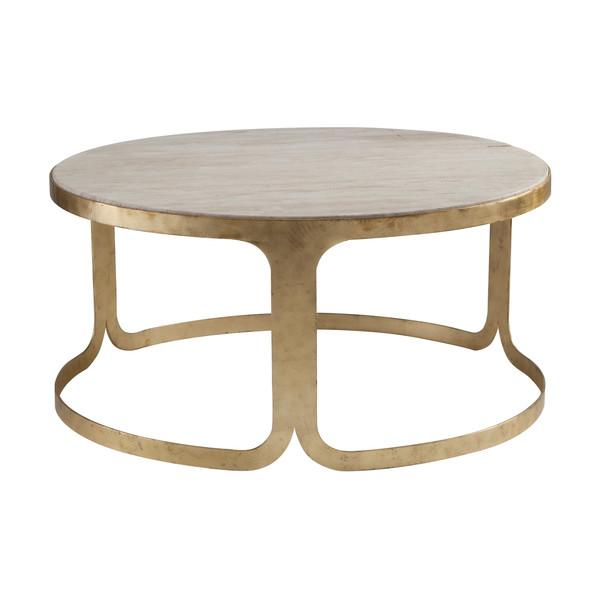Stone Base Coffee Table.Round Gold Base Beige Stone Top Coffee Table