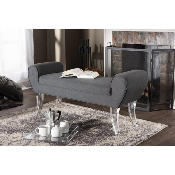 Favorite Gray Upholstered Curved Acrylic Legs Bench LM26