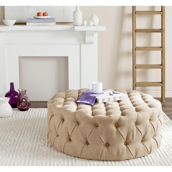 Charlene Button Tufted Taupe Linen Fabric Ottoman