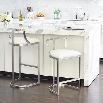 Brass Base White Cushion Armless Counter Stool