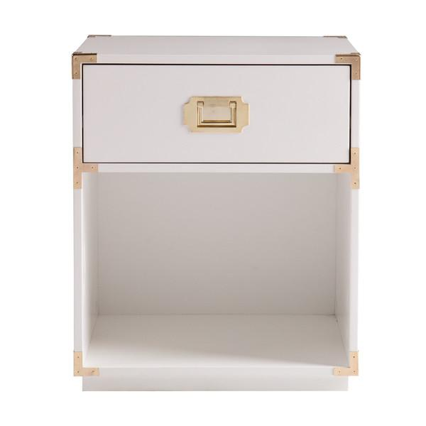 Superb White Campaign Open Shelf Side Table