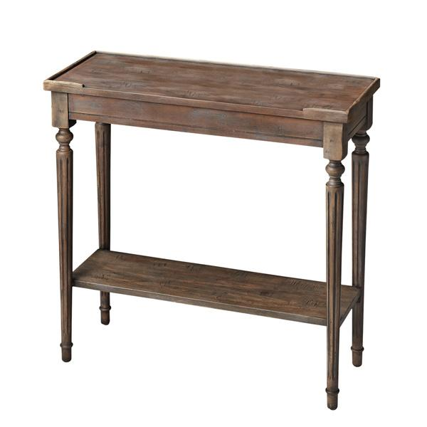 Brown Carved Wood Rectangle Console Table