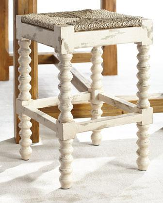 Brass Base White Cushion Armless Counter Stool