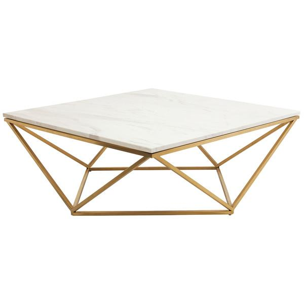 gold triangle motif marble top coffee table