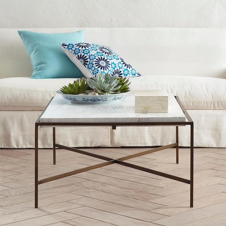 Square Marble X Base Coffee Table