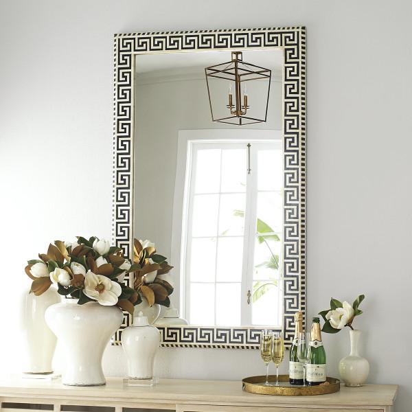 black and white greek key bone mirror. Black Bedroom Furniture Sets. Home Design Ideas