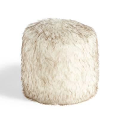 Threshold Fur Ottoman With Hairpin Legs In Brown
