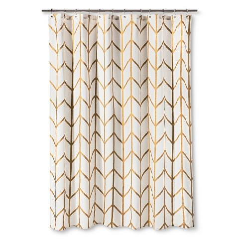 Gold Ikat Chevron Shower Curtain