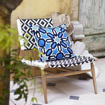Como grey and white houndstooth woven chair
