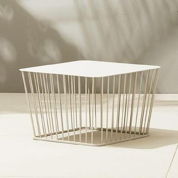wire coffee table. White Wire Spokes Base Coffee Table