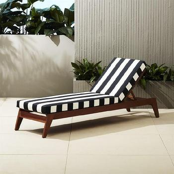 White natural cushion wooden outdoor lounger for Black and white striped chaise lounge cushions