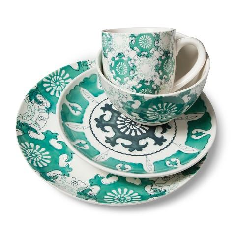 sc 1 st  Decorpad & Aqua Blue Medallion Dinnerware Set