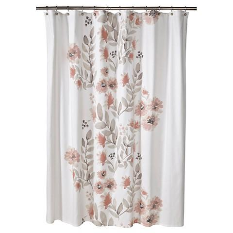 pink grey shower curtain. Watercolor Nude and Gray Floral Shower Curtain