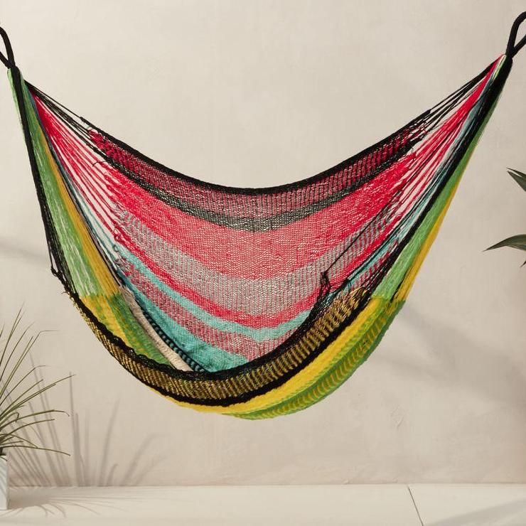 Chain Hanging Geometric Pattern Swing Daybed