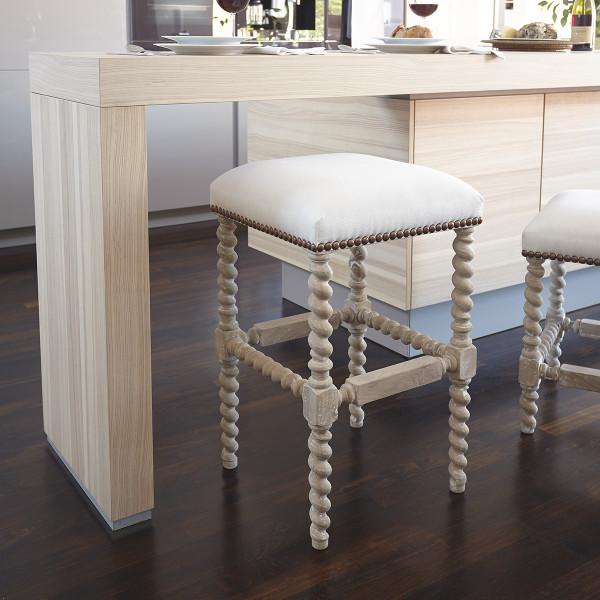 Upholstered Bar Stool Ridged Leg Stools With Backs And: Beige And White Spindle Legs Bar Stool