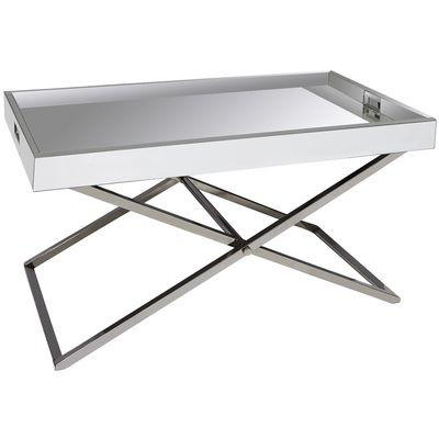 White Mirrored Rectangle Adjustable Coffee Table - Mirrored Rectangle Adjustable Coffee Table