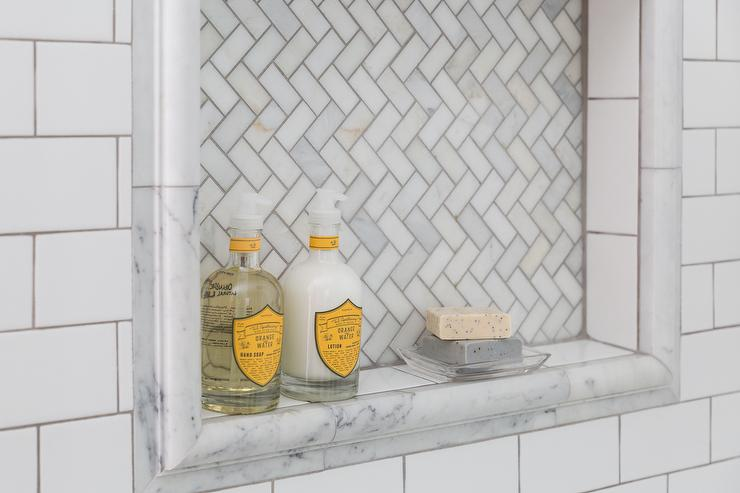 Marble Herringbone Shower Niche Design Ideas