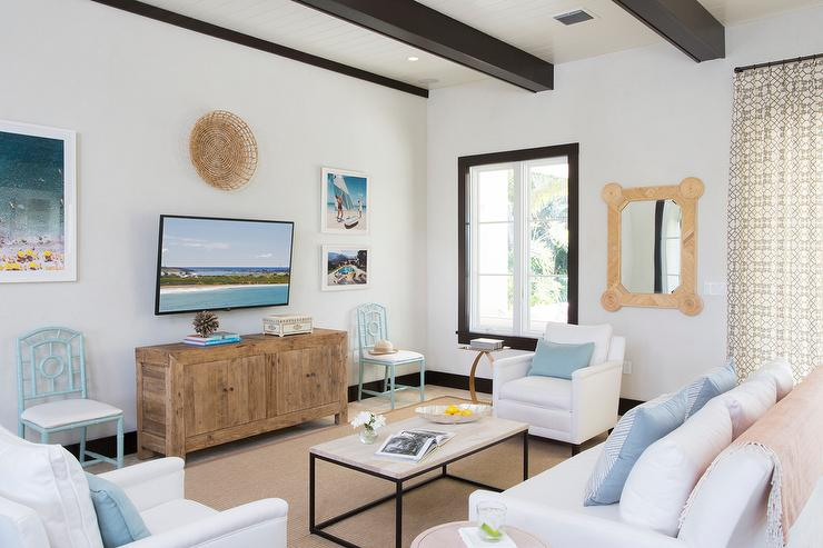 White and Blue Beach Cottage Living Room with Black Wood Ceiling ...