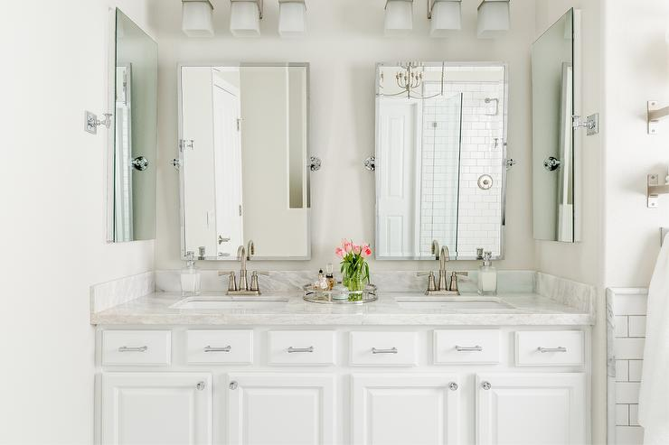 Beau White Double Washstand With Pottery Barn Kensington Mirrors