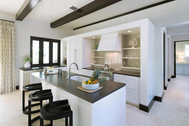 Contemporary Beach Kitchen With Gray Tile Backsplash
