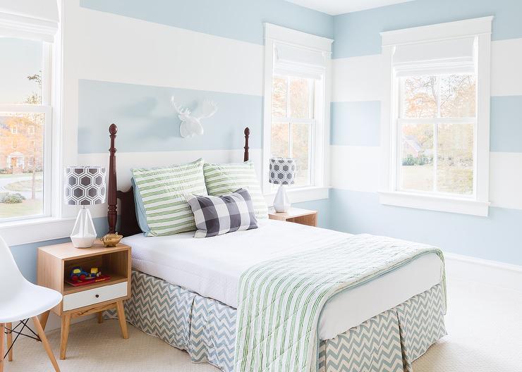 Alyssa rosenheck boys bedroom with blue horizontal for Striped bedroom walls