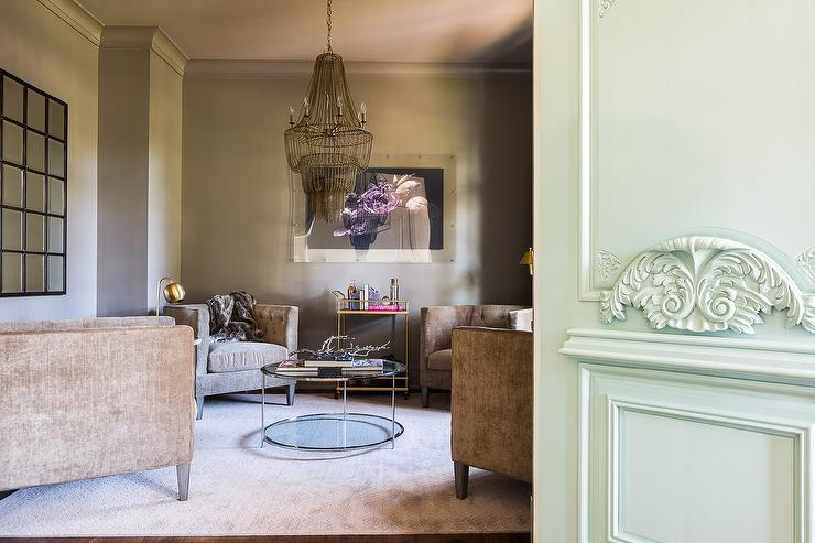 Alyssa Rosenheck Brown Living Room With Gold Accents