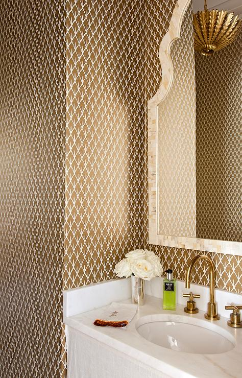 Brown And Gold Powder Room With Mughal Leaf Wallpaper