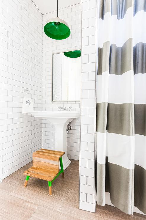 Grey White Striped Shower Curtain. Alyssa Rosenheck  Boy Bathroom with Green Striped Shower Curtain