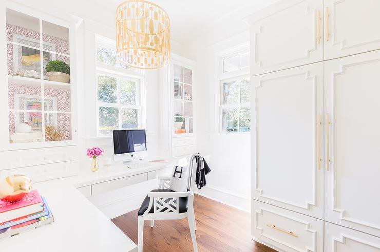 Brass Lattice Home Office Cabinet Doors Design Ideas