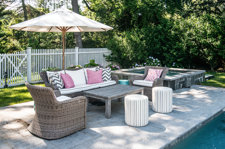 Wicker Patio Sofa And Chairs Next To Raised Hot Tub
