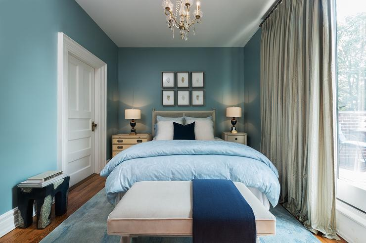 blue bedroom with different sized nightstands - transitional - bedroom Different Nightstands
