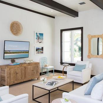 White and Blue Beach Cottage Living Room with Black Wood Ceiling Beams